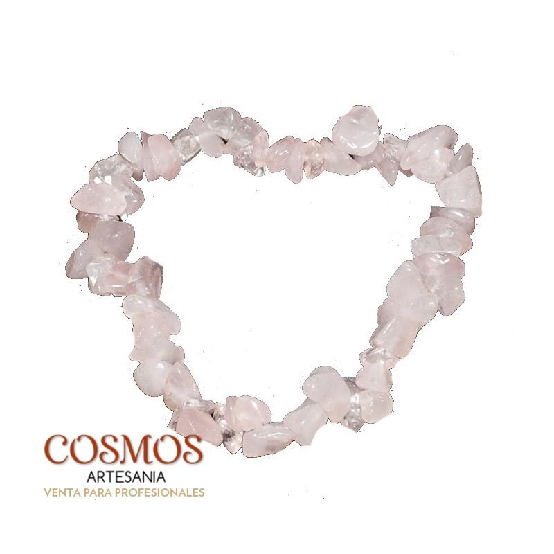 52a1964a30d7   Pulsera Cuarzo Rosa Mineral Chip 5cm ø